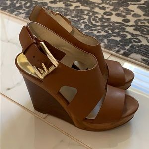 Michael Kors wedge brown leather sandals